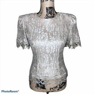 Cachet Vintage Lace Short Sleeve Blouse Size 4P